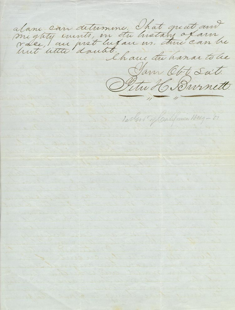 Peter Burnett, Letter Sep 6, 1852 (San Jose, Calif.) to Lewis Jacob Cist [verso]