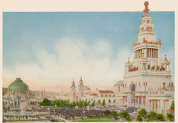 The Tower of Jewels and the Great South Gardens, Colortypes of the Panama-Pacific International Exposition