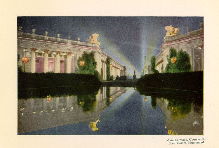 Main Entrance, Court of the Four Seasons, Illuminated, Colortypes of the Panama-Pacific International Exposition