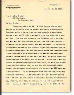 Letter from Franz Boas to A. L. Kroeber