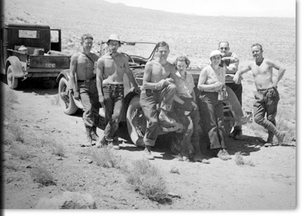 Robert F. Heizer (second from left) and field crew, Nevada