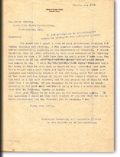 Letters from A.L. Kroeber to J. Hinkle