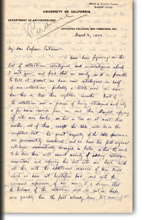 Letter from A.L Kroeber to F.W. Putnam