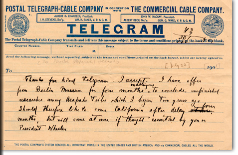 Alfred Louis Kroeber, Telegram to P. A. Hearst, [New York, 22 July 1901]