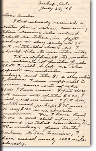 Letter from Julian Steward to A.L. Kroeber