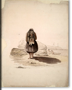 Yurok? woman carrying a child, Humboldt County, California?