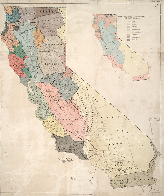 Map Of California. Ethnographic Map of California