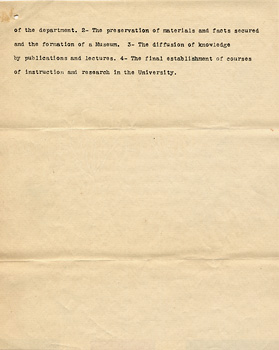 Phoebe Apperson Hearst, et al., Suggestions for the organization of a Department of Anthropology, [Berkeley, September 1901]