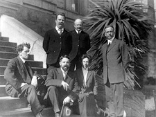 Anthropology Department Staff, Affiliated Colleges Building Steps, San Francisco: Nels C. Nelson, Kroeber, Ethel G. Field, Arthur Poyser, Arthur Warburton, Waterman