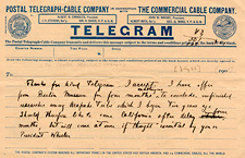 Alfred Louis Kroeber Telegram to P. A. Hearst [New York, 22 July 1901]