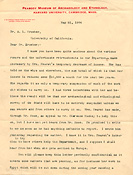 Letter from Frederic Ward Putnam to A.L. Kroeber