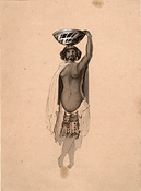 William H. O'Grady: Yurok? Indian woman with a  basket on her head