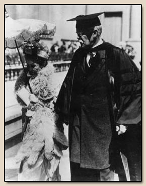 Phoebe Apperson Hearst and Benjamin Ide Wheeler at commencement ceremonies.  Photograph, 1913.