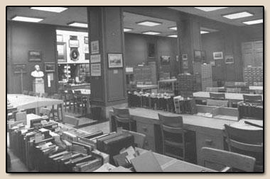 The Bancroft Library reading room, 1950-1972.  Photograph, 1971.