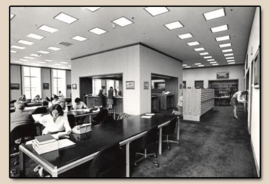 The Bancroft Library's new Edward Hellman Heller Reading Room.  Photograph, 1973.