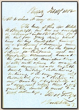 George H. Derby.  Letter of introduction.  Buffalo, New York, 18 February 1852.
