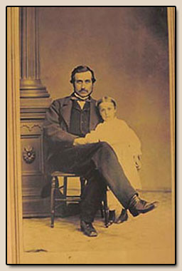 Hubert Howe Bancroft and his daughter Kate.  Photograph, ca. 1870.