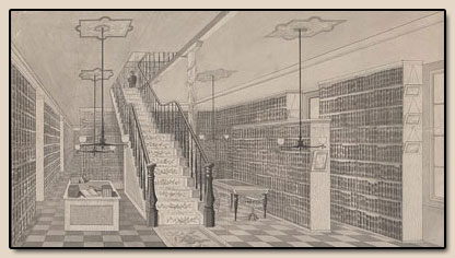 Second Floor, library work area.  Engraving, ca. 1881.