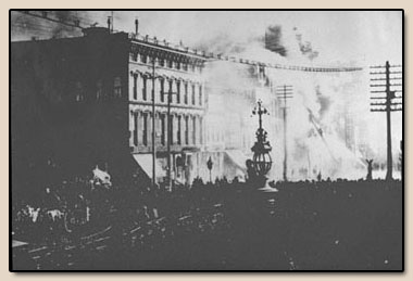 Burning of The Bancroft Building.  Photograph, 1886.