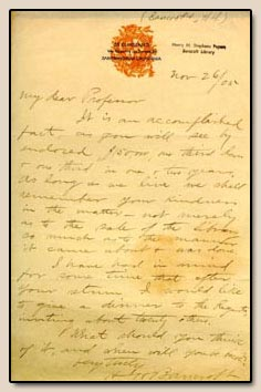Hubert Howe Bancroft.  Letter to Henry Morse Stephens. San Francisco, 26 November 1905.