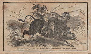 An Indian Hunter, Riding on a Tame Buffalo, Attacked by a California Tiger, CROCKETT'S ALMANAC, 1852