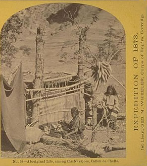 No. 68. Aboriginal life among the Navajo Indians, squaw weaving blankets