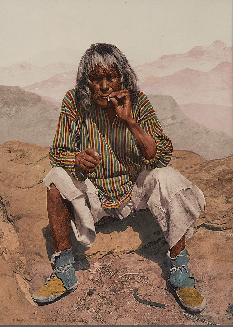53426 The Cigarette Smoker, A Moki Indian. Arizona, Photographer unknown