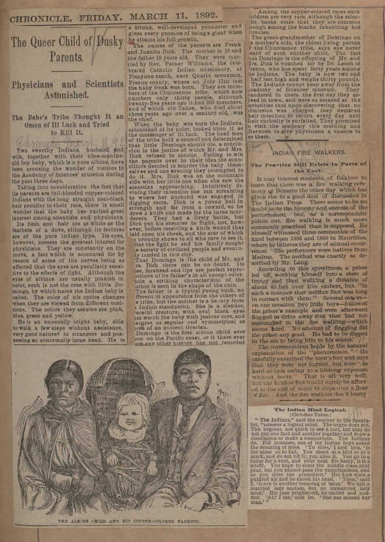 The Queer Child of Dusky Parents, San Francisco Chronicle, Friday, March 11, 1892