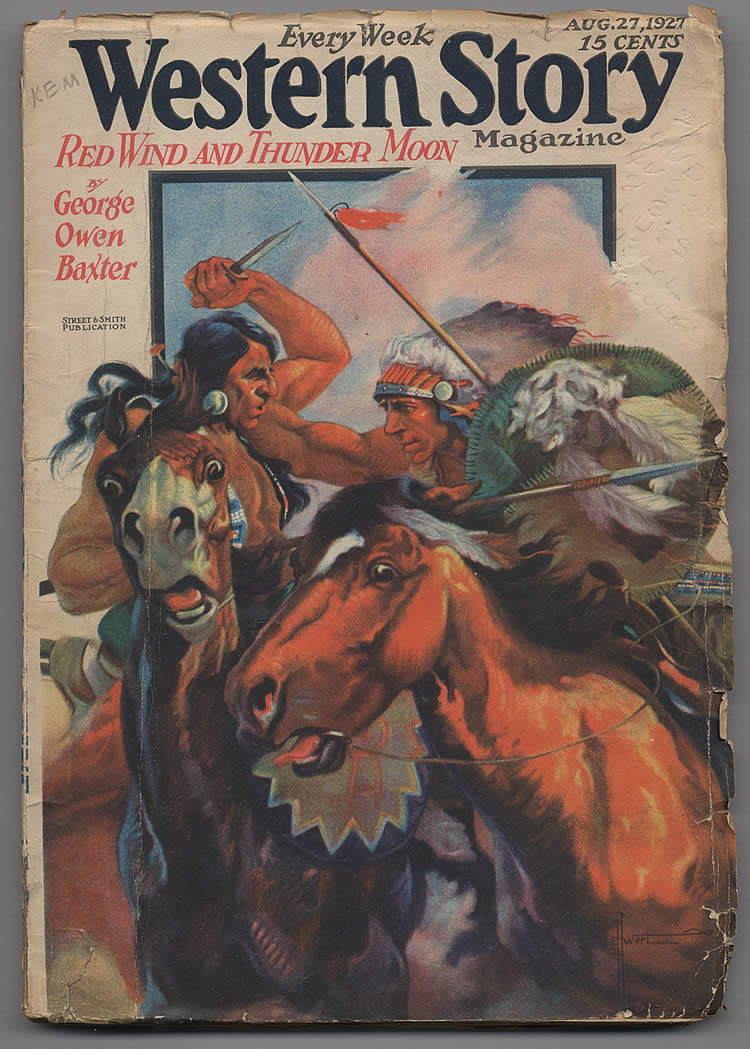 Cover of WESTERN STORY MAGAZINE, Vol. LXXI, No. 6, August 27, 1927