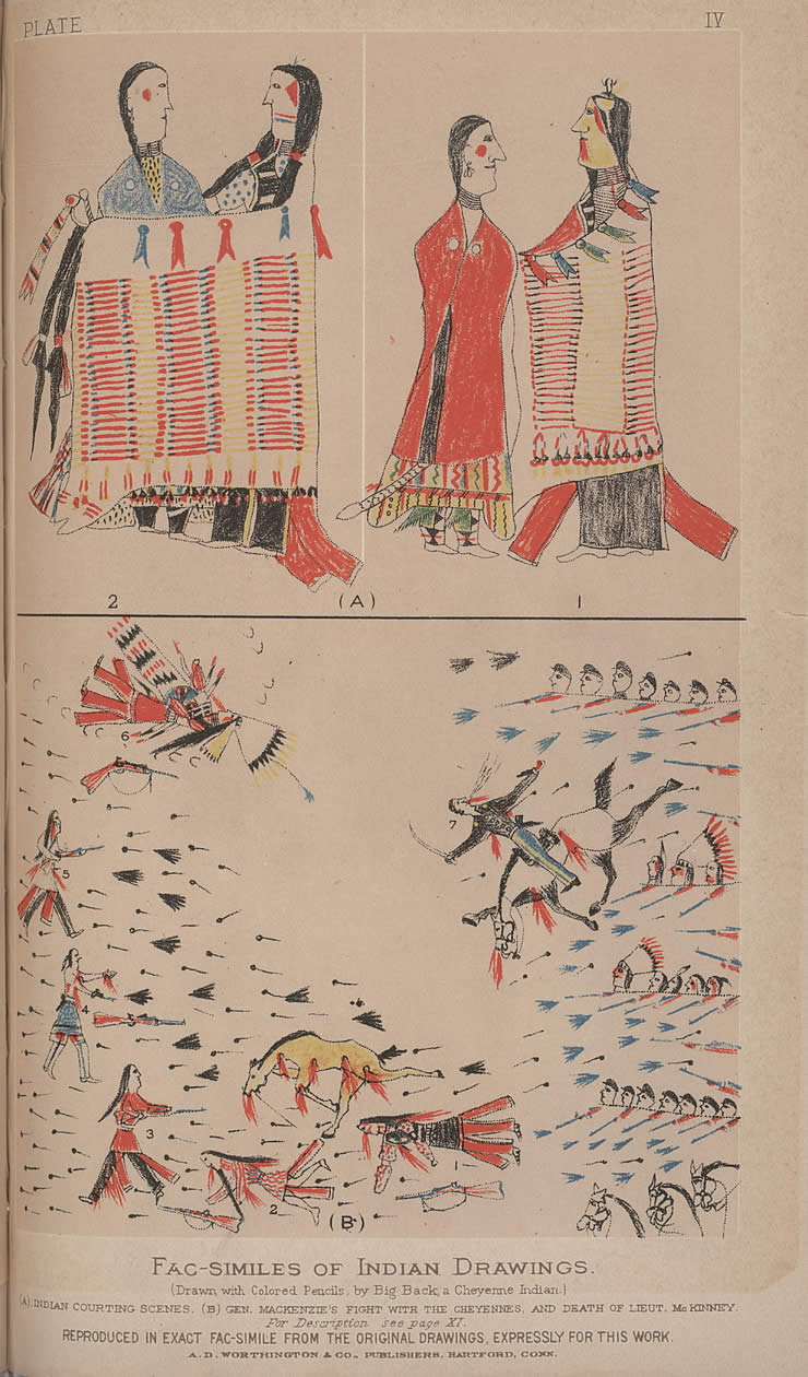 (A) Indian Courting Scenes, (B) Gen. MacKenzie's Fight with the Cheyennes, and the Death of Lieut. McKinney, Original drawings attributed to Big Back, a Cheyenne Indian, Richard Irving Dodge