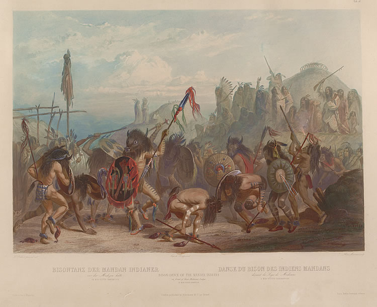 Bison-Dance of the Mandan Indians in front of their Medicine Lodge in Mih-Tutta-Hankush, Karl Bodmer