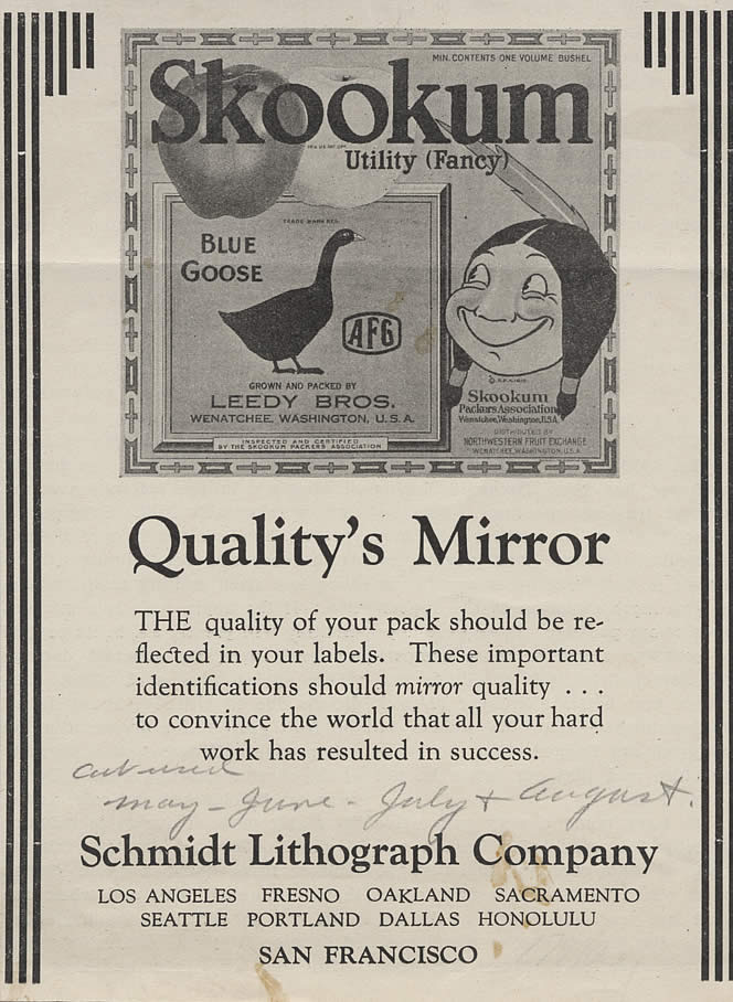 Advertisement, Skookum brand apples