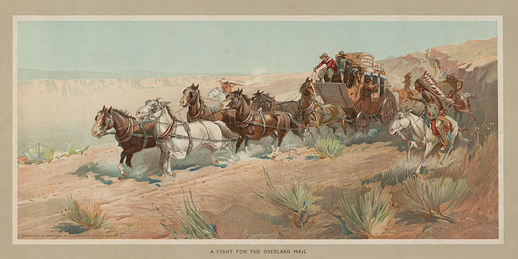 Advertising poster, A Fight for the Overland Mail