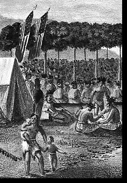 View of the Great Treaty Held at Prarie Du Chien (detail), September 1825, 'Painted on the Spot by J.O. Lewis'