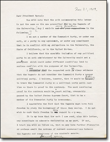 Draft letter from Chamberlain to President Sproul November 21, 1949
