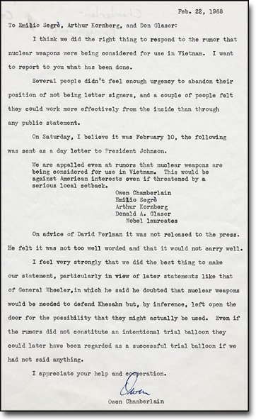 Letter from Chamberlain to Colleagues, February 22, 1968