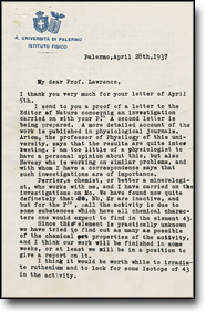 Letters exchanged between Lawrence and Segrè , 1937