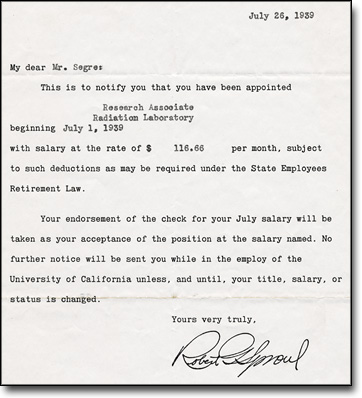 Letter from President Sproul to Segrè, July 26, 1929