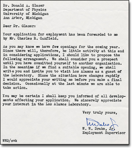 Letter from W. W. Drake to Donald A. Glaser, November 9, 1950