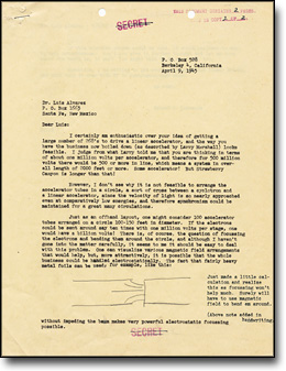 Letter from Lawrence to Alvarez Proposing a New Type of Linear Accelerator, 1945