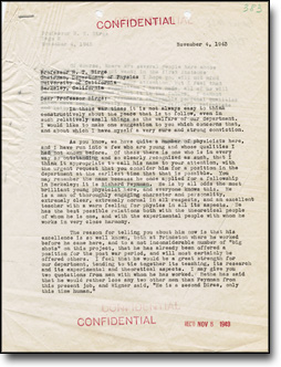 Letter from Oppenheimer to Birge Recommending Richard Feynman for a Position at Berkeley, November 4, 1943