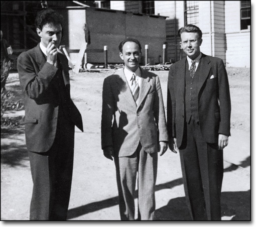 Oppenheimer, Fermi, and Lawrence in Front of the Emergency Classroom Building (now Minor Hall), 1940