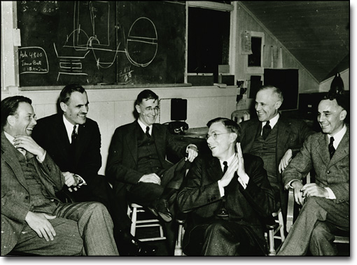 E. O. Lawrence, A. Compton, J. Conant, V. Bush, K. Compton, A. Loomis in the Radiation Laboratory, 1940