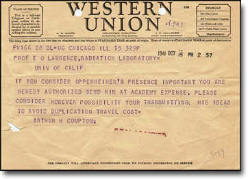 Telegrams between Lawrence and Compton, October 1941