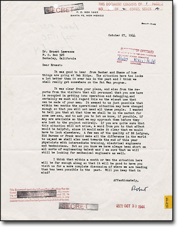 Letter from J. Robert Oppenheimer to Ernest Lawrence, October 27, 1944, seeking more staff for Los Alamos