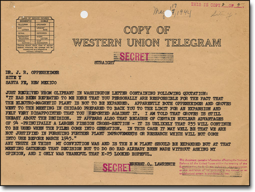 Telegram from Lawrence to Oppenheimer, May 17, 1944