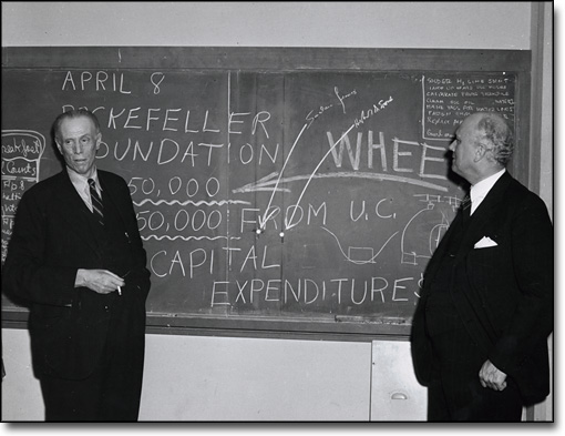 Sinclair Lewis and Herbert M. Evans at the Rad Lab, ca. 1950