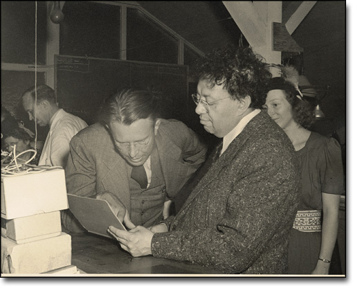 Lawrence and Mexican Artist Diego Rivera at the Rad Lab, ca. 1948