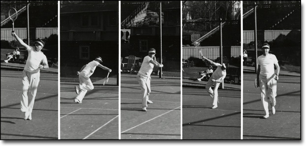 Lawrence Polishing His Serve, Berkeley Tennis Club, ca. 1955