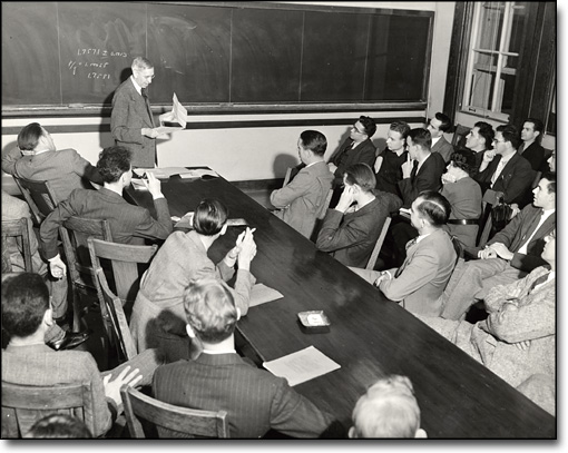 Physics Journal Club Presentation, N.D. Birge Lecturing; seated at left: Lawrence and Oppenheimer